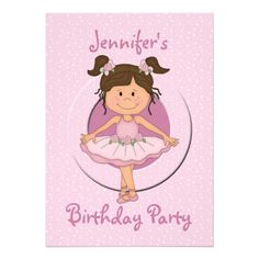 Cute Pink Ballerina Birthday Party Invitations