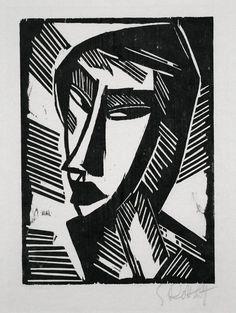 "Karl Schmidt-Rottluff (1884-1976), Weiblicher Kopf ""Female Head"", woodcut, 1915"