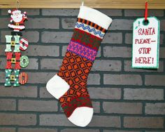 This Christmas stocking will add a charming, homespun feel to your holiday decor! I knit the cuff, heel and toe in Aran ( an off white). This