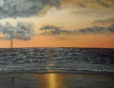 Sunset on a Costa Rican beach- Acrylic painting. A Full gallery containing archived pieces and works for sale by Moriah Lehman. #art #sunset #nofilter