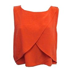 Rebecca Minkoff Deep Orange Malone Cropped Silk Top - Size Large - Nwt... ($165) ❤ liked on Polyvore featuring tops, red silk top, silk crop top, rebecca minkoff, silk top and cropped tops