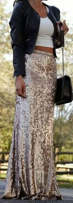 sequin maxi+leather jacket