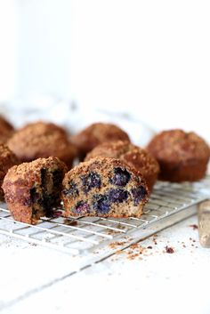 Blueberry, apple & buckwheat muffins - recipe by www.swoonfood.com