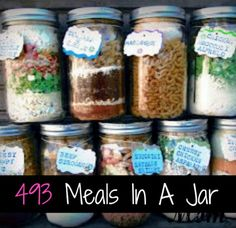 Meals in a jar (just add water) & suppose to keep for 5 years without refrigeration. Meals In Jar Recipes. Mason Jar Meals, Meals In A Jar, Mason Jars, Mason Jar Recipes, Mason Jar Gifts, Drink Recipes, Make Ahead Meals, Freezer Meals, Freezer Recipes