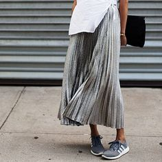 tuesday's girl: fall fashion. metallic pleated skirt with sneakers. yes please!