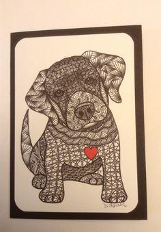 Zentangle Inspired Labrador Retriever dog  Note by Leopardtude, $6.00