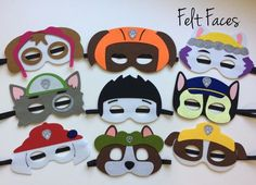 One set of 9 Paw Patrol party masks, one of each style shown in the photo. Each mask is made with premium felt, and has a black elastic band sewn to each side of the back. These adorable party masks a