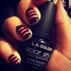 Pink and black striped nails