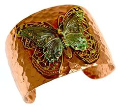 Forged Copper and Patina Brass Neo-Victorian Butterfly with Filigree Cuff Bracelet by Elaine Coyne -- Awesome products selected by Anna Churchill