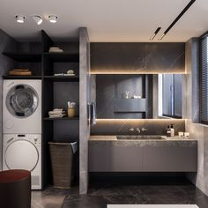 Modern Laundry Rooms, Laundry Room Design, Home Room Design, House Design, Bathroom Design Luxury, Modern Bathroom Design, Small Apartment Interior, Laundry Room Remodel, Farmhouse Style Kitchen