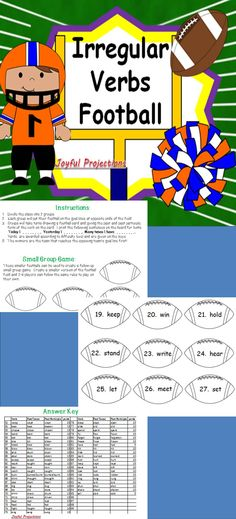 Students will read a verb from a set of over 90 irregular verbs and then correctly recite the past tense and past participle forms. If answered correctly their team will march along the field towards the goal line for a touchdown! Extra yards could even be awarded for spelling the forms correctly! Game can be produced as a whole group activity as well as a small group game.