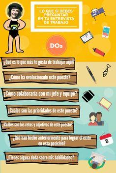 Algunas cosas que debes preguntar en una Entrevista de Trabajo #infografia #empleo