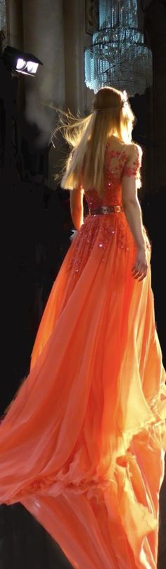 2016 Wedding Dresses, Designer Wedding Dresses, Dresses 2016, Moda Chic, Cocktail Gowns, Orange Fashion, Orange Is The New Black, Orange Dress, Lace Sleeves