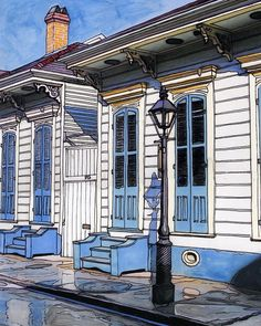 John Boles   WATERCOLOR          French Quarter House Trimmed In Blue Painting