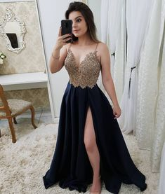 Bling Bling Gold Beaded Navy Blue Long Prom