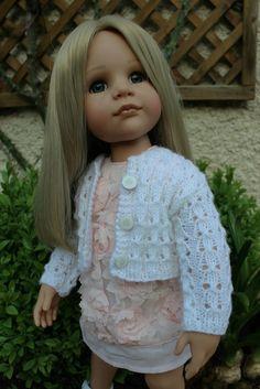 Tuto cardigan ajouté pour poupée Gotz 50cm Poupées Our Generation, Gotz Dolls, 18 Inch Doll, Handmade Clothes, I Dress, Doll Clothes, Knitwear, Knit Crochet, Flower Girl Dresses