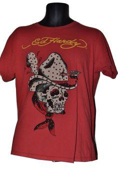 Ed Hardy #Skull T-Shirt - #Skeleton #Cowboy #Studded Short Sleeve Tee - Men's Size L #EdHardy #GraphicTee