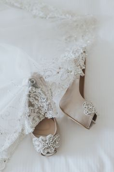 Beautiful white bridal heels with gorgeous embellishments to match the lace trimmings on the bridal veil // Andy and Hanis' wedding celebrations began with a Bollywood-themed henna night, and was followed by a traditional 'akad nikah' (or wedding solemnisation) and two receptions.