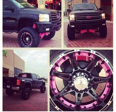 Lifted truck black and pink OMG need #Wheel #Tire Packages @ WHEEL HERO http://www.wheelhero.com/rims-and-tires