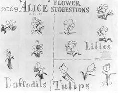 """Model Sheets from Alice in Wonderland by Mary Blair """