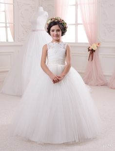 720855a9b5f Aliexpress.com   Buy Luxurious White Sheer neck Lace Open Back Holy First  Communion Dresses for Girls Ball Gown Vestidos de Comunion Casamento from  Reliable ...