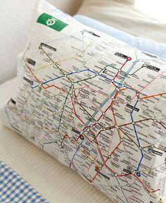 Metro de Paris Illustration Design Linen Fabric by luckyshop0228