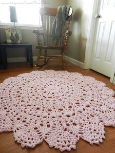 Crochet Doily Rug soft pink light pink rose Lace by EvaVillain