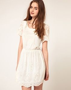 Browse online for the newest ASOS Skater Dress with Embroidery styles. Shop easier with ASOS' multiple payments and return options (Ts&Cs apply). Nude Dress, Asos Dress, White Dress, White Lace, Rehearsal Dinner Dresses, Mesh Dress, Skater Dress, Pretty Outfits, Short Sleeve Dresses