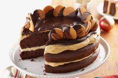 Turtle Cake recipe~ layers of moist cake, caramel filling and chocolate-dipped wafers.