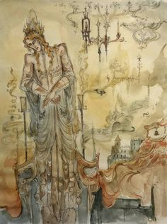 Shrouds and Smoke Original Fantasy Painting Elf Nymph Elven Figure Sauron Antique Setting Ornate Costume Candles Dreamscape Meditation lotr Nymph, Lotr, Orchids, Elf, Vintage World Maps, Original Paintings, Meditation, Costume, Smoke