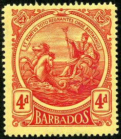 """Barbados  1916 Scott 133 4d red/yellow; A15 design """"Seal of the Colony""""; Wmk 3"""