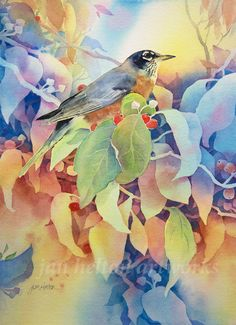 I love painting my backyard birds! This American Robin was feasting on the berries in my Dogwood tree. Original watercolor painting framed to 20 x Negative painting technique was used for the foliage. Watercolor Negative Painting, Watercolor Painting Techniques, Watercolor Sketchbook, Watercolor Landscape Paintings, Butterfly Watercolor, Floral Watercolor, Papier Paint, Art Inspiration Drawing, Bird Artwork