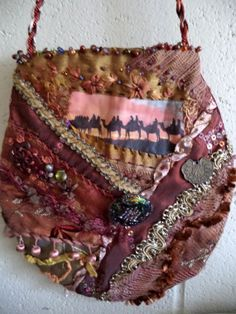 Silk crazy quilted trade route bag by Lilla on Etsy, $35.00