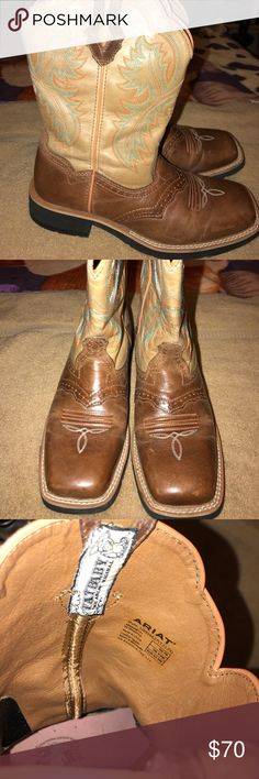 Ariat boots Size 7B! In very good condition. Only has some wear and tear on the inside of one boot. Have only been worn three times. Ariat Shoes Combat & Moto Boots