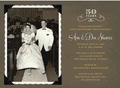 Custom invitation for Mom & Dad's 50th wedding anniversary party June 2012.