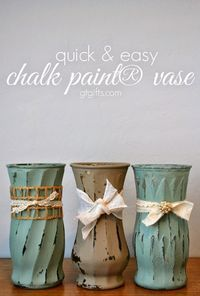 Quick & Easy Chalk Painted Vases. Use Store Bought Or DIY Chalk Paint. Apply Wax Paste Or Polycrylic After Paint Has Dried. Adorn With Decorations After, If You Wish.
