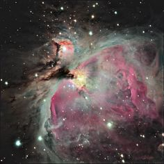 The Orion Nebula (M42), a site of relatively nearby high mass star formation at 1500 light years' distance. The red and magenta hues are produced by the ionization of hydrogen atoms by the extremely harsh ultraviolet radiation from the embedded young stars within the nebula. The center, where the stars are located, is blown out in this image in favor of highlighting the faint, extended structure of the nebula. Dark lanes of absorbing dust can be seen just below the center. This gri composite…