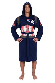 Marvel Blue Captain America Avengers Jersey Robe (One Size) Avengers Costumes, Avengers Movies, Avengers 2, Captain America Suit, Superhero Suits, Marvel Clothes, Peignoir, Future Clothes, Red And White Stripes