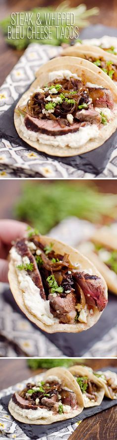 Steak & Whipped Bleu Cheese Tacos - A tender New York Strip Steak and caramelized onions topping a savory whipped bleu cheese on chewy corn tortillas for an amazing dinner idea!