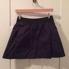 J crew navy blue skirt A-line navy blue J crew skirt. Mini skirt with pockets. Elastic waist. Great condition J. Crew Skirts Mini