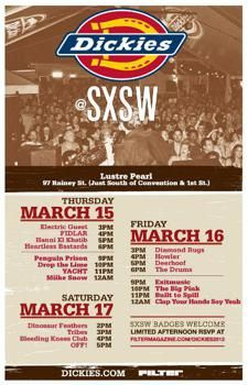 Filter has posted the info for their annual Dickies @ SXSW party. Once again, the event will be at Lustre Pearl. The night shows are badge. Built To Spill, Typographic Poster, Party Poster, Band Posters, Concert Posters, Rsvp, Invitations, Pearls, Parties