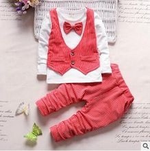 2016 Baby Boy Christmas Outfits Clothes Set Toddler Boys Autumn Clothing Set Gentleman Vest T-shirt + Pants Kids Clothing Set(China (Mainland))