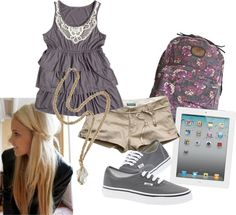 #khakishorts #greydresstank Khaki Shorts, Tank Dress, Shoe Bag, My Love, Grey, Polyvore, Stuff To Buy, Shopping, Shoes