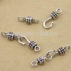 20 set / lot 6x17mm Antique Silver Silver sešití háčků Konektory pro náramek náhrdelník šperky Příslušenství DIY díly F765