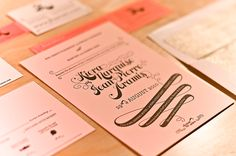 Pink + gold wedding invitations - Em for Marvelous -  Gold Liners, Gold Edging. Coral paper & Black text.
