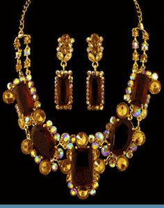 Vintage Style Amber Rhinestone Necklace with Earrings