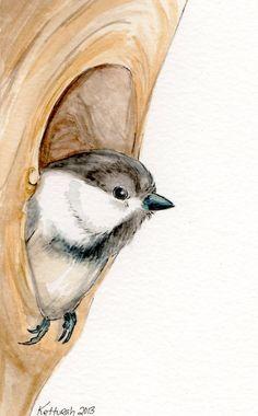 Original Chickadee Watercolor Painting OSWOA by KetturahsArt, $20.00