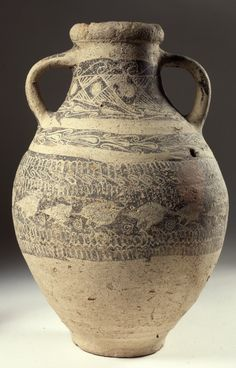 _Large pottery jar; painted geometric and figural white on dark decoration, including a row of birds.       Mitannian - 15thC BC (about).  Exhibited:  Metropolitan Museum of Art, New York: long-term loan for the Assyrian Display, 1 Jun 1999-30 Nov 2008.