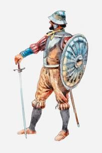 1540 c. Illustration of Spanish conquistador holding shield and sword Photographer: Dorling Kindersley Conquistador, Italian Renaissance, Renaissance Art, Soldado Universal, Zombie Army, Mexican Army, Aztec Culture, Knight Armor, Art Studies
