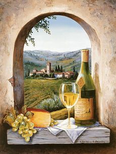 Tile Murals Landscapes Tuscan Italian Provence French Old World Tuscany Vineyards Wine Country Wine Wine Glasses Labels Tuscany Dreams including white wine bottles glasses grapes cheese vineyard window arch Art on Tile Mural Bathroom Outdoors Indoors Ho Tuscan Art, Tuscan Style, Design Toscano, Tuscany Decor, Wine Painting, Kitchen Wall Art, Kitchen Backsplash, Countertop, Wine Art